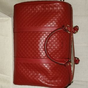 Authentic  Gucci Boston Bag Leather Red Sactchel